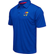 Colosseum Men's Kansas Jayhawks Blue Heathered Performance Polo