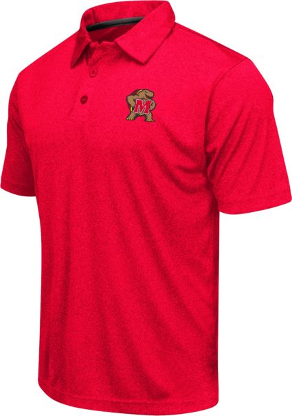 Colosseum Athletics Men's Maryland Terrapins Red Heathered Performance Polo