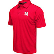 Colosseum Men's Nebraska Cornhuskers Red Heathered Performance Polo