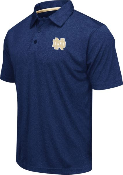 Colosseum Athletics Men's Notre Dame Fighting Irish Navy Heathered Performance Polo