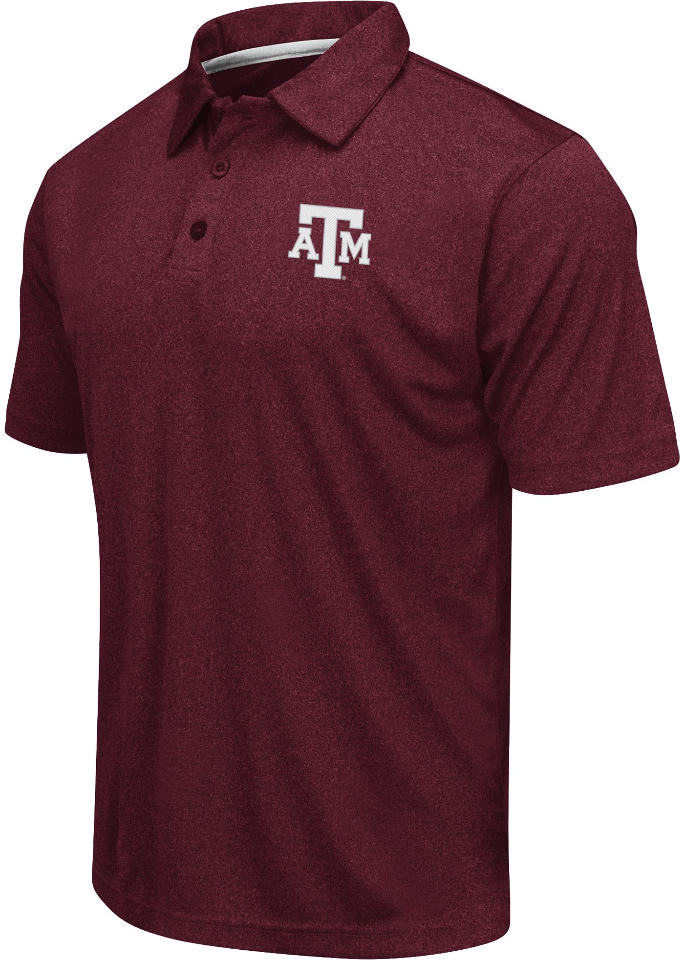Colosseum Athletics Men's Texas AM Aggies Maroon Heathered Performance Polo