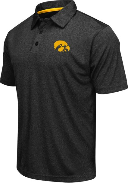 Colosseum Athletics Men's Iowa Hawkeyes Black Heathered Performance Polo