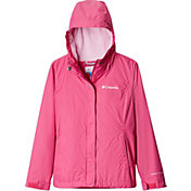 Columbia Girls' Arcadia Rain Jacket in Pink Ice