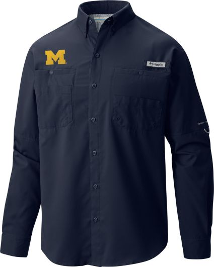 Columbia Men's Michigan Wolverines Blue Tamiami Long Sleeve Shirt