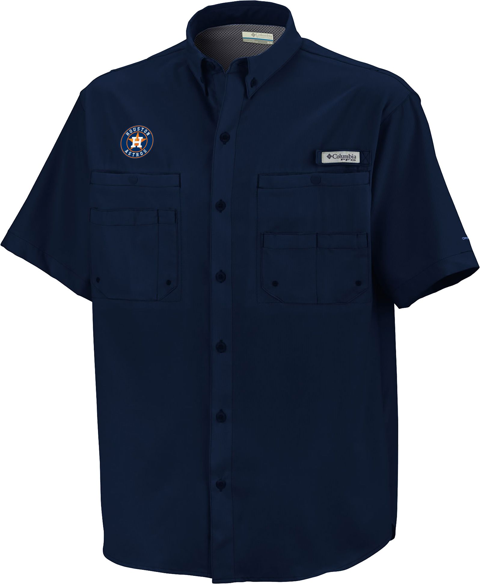 Columbia men 39 s houston astros navy tamiami performance for Field and stream fishing shirts