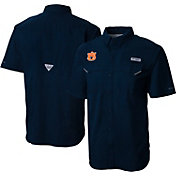 Columbia Men's Auburn Tigers Blue Low Drag Offshore Performance Button Down Shirt
