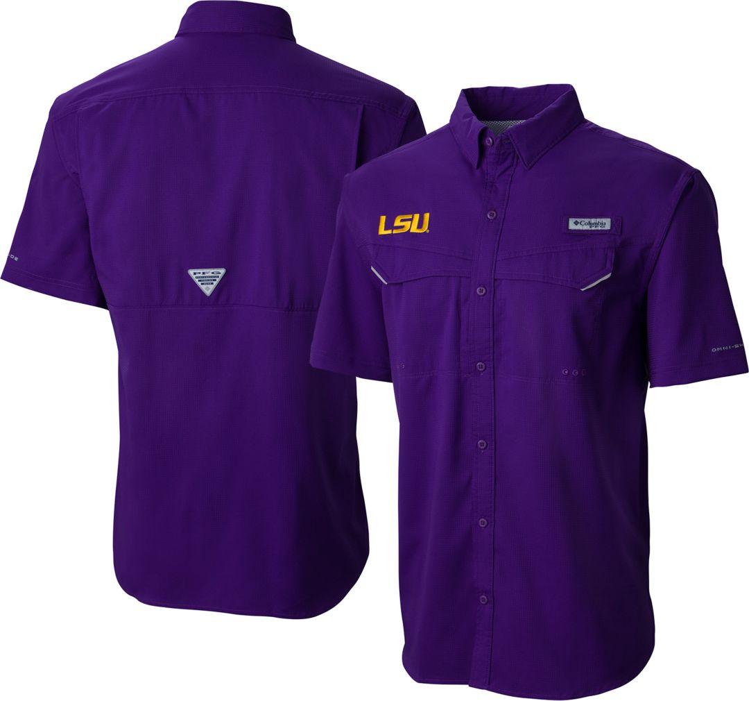 2aa256ec Columbia Men's LSU Tigers Purple Low Drag Offshore Performance Shirt
