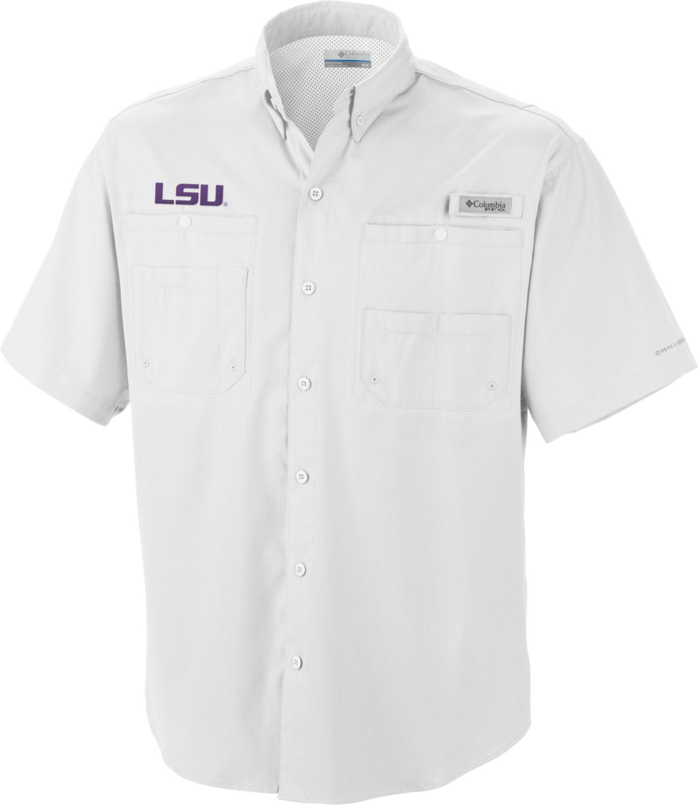 Columbia Men's LSU Tigers White Tamiami Performance Shirt