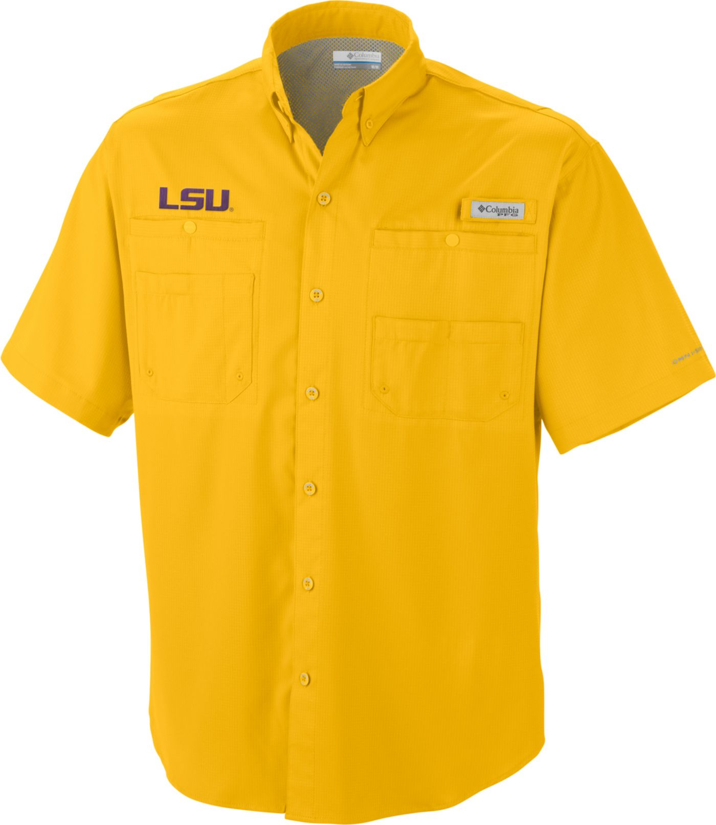 Columbia Men's LSU Tigers Gold Tamiami Performance Shirt