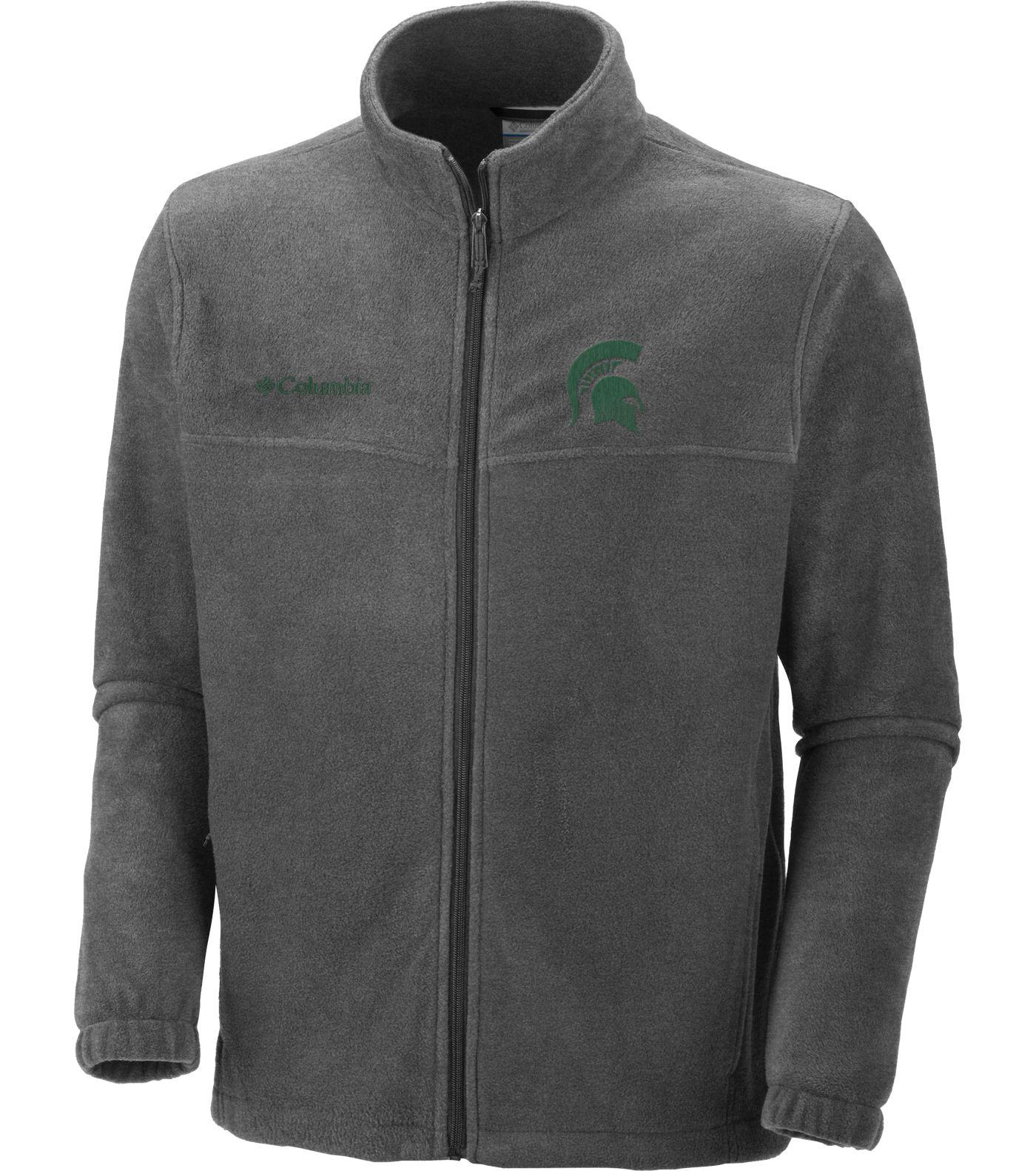 Columbia Men's Michigan State Spartans Charcoal Flanker Full-Zip Fleece Jacket