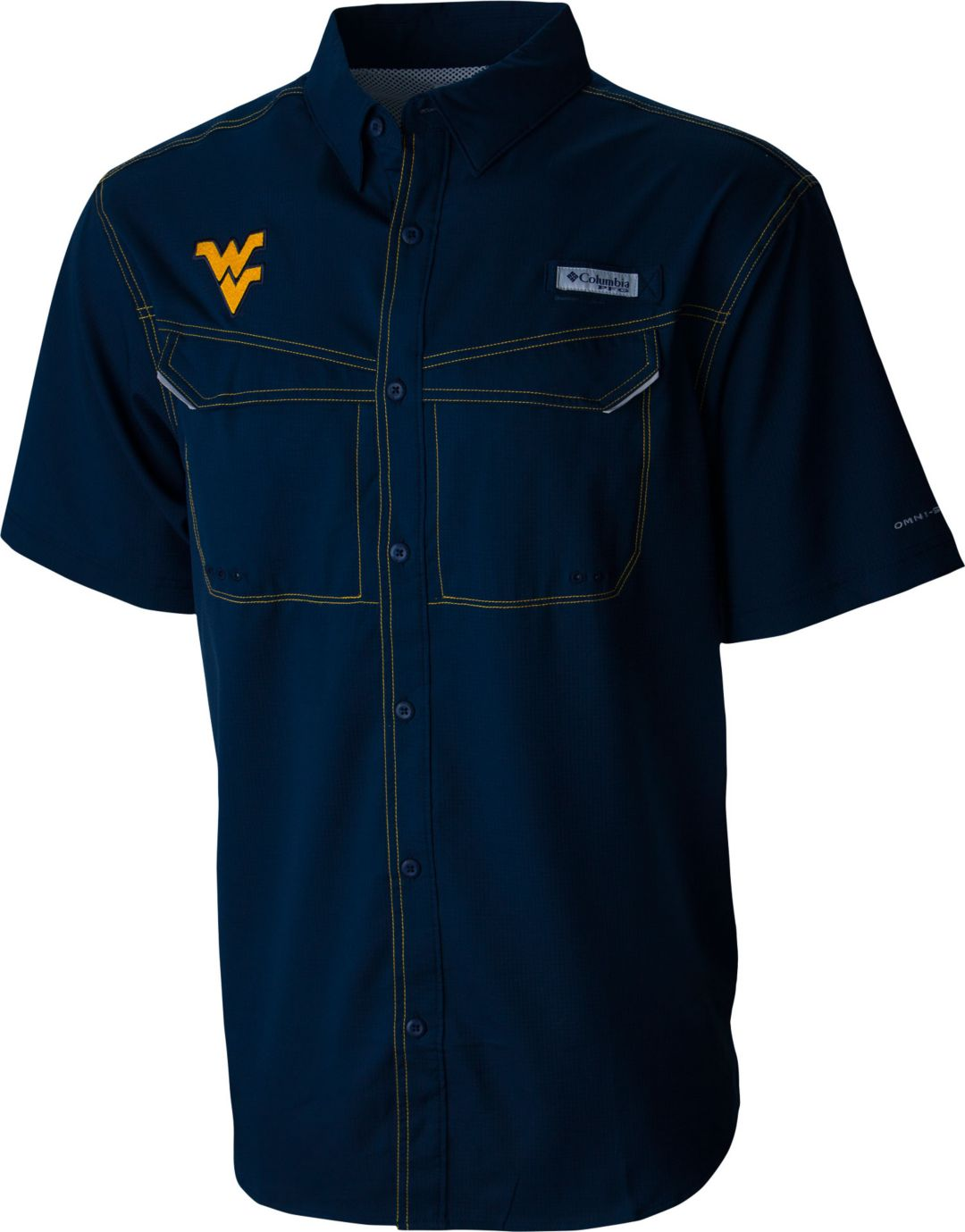 b5e862600dd Columbia Men's West Virginia Mountaineers Blue Low Drag Offshore  Performance Shirt 1