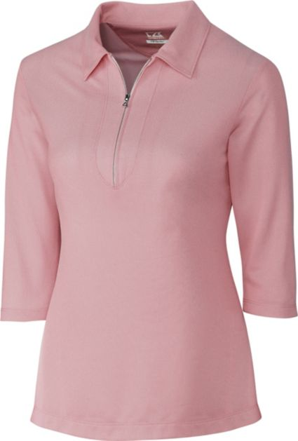Cutter & Buck Women's Blaine Oxford 3/4-Sleeve Zip Polo