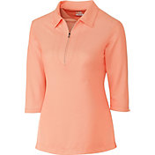 Cutter & Buck Women's Blaine Oxford Three-Quarter Sleeve Zip Golf Polo