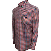 Campus Specialties Men's Auburn Tigers Blue Multi-Checkered Woven Long Sleeve Shirt