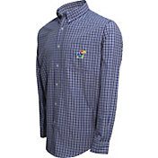 Campus Specialties Men's Kansas Jayhawks Blue Multi-Checkered Woven Long Sleeve Shirt