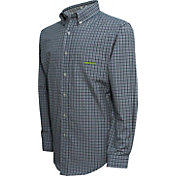 Campus Specialties Men's Oregon Ducks Green Multi-Checkered Woven Long Sleeve Shirt