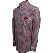 Campus Specialties Men's Arkansas Razorbacks Cardinal Multi-Checkered Woven Long Sleeve Shirt