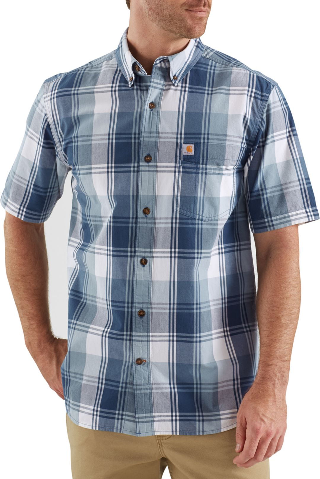 order how to buy online retailer Carhartt Men's Essential Plaid Button Down Short Sleeve Shirt