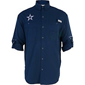 Columbia Men's Dallas Cowboys Tamiami Navy Button-Up Dress Shirt