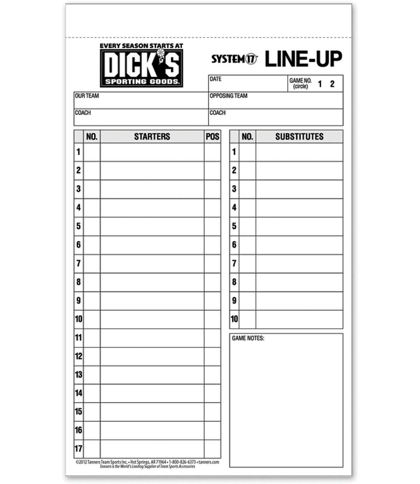 DICK'S Sporting Goods Baseball/Softball Line Up Cards