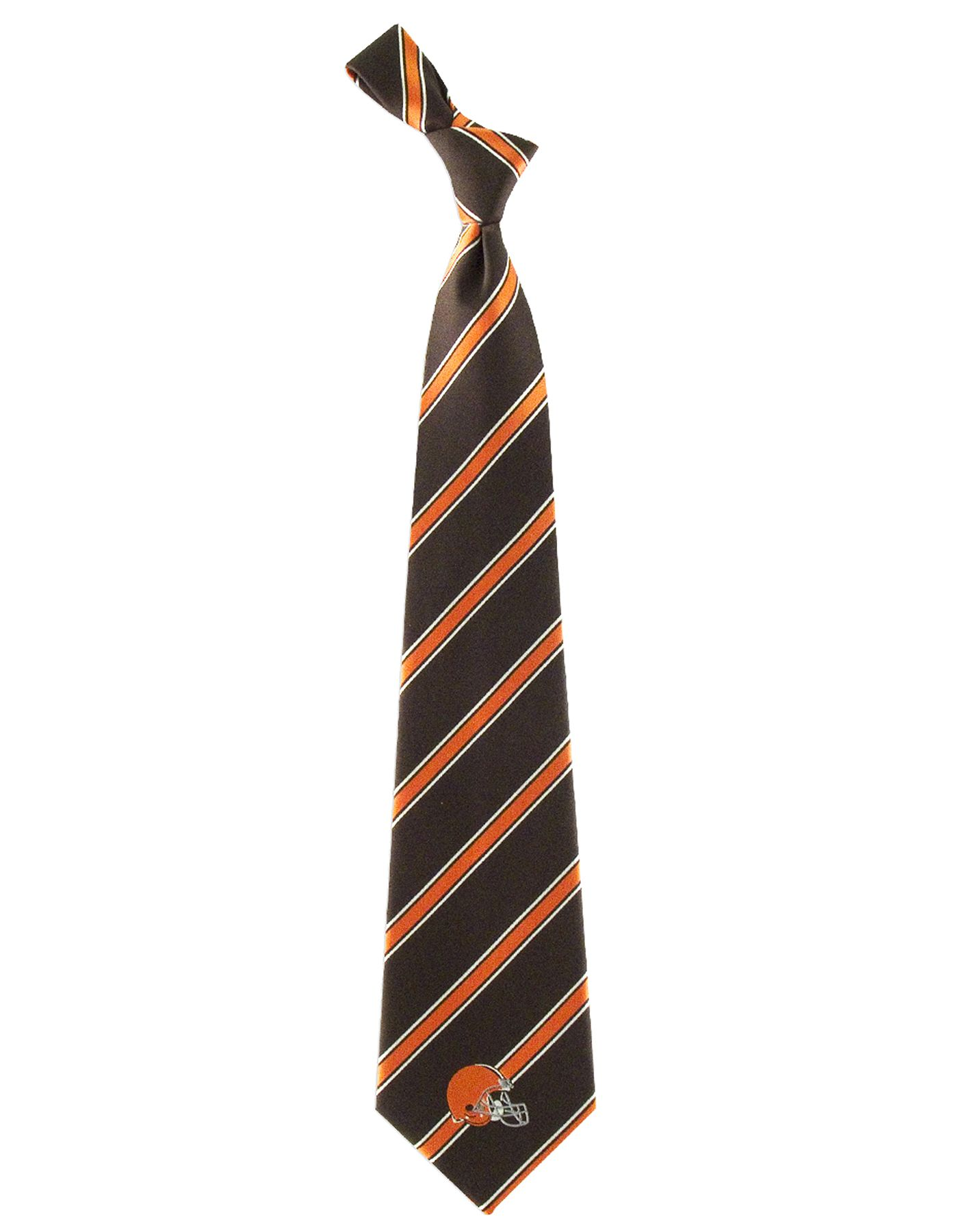 Eagles Wings Cleveland Browns Striped Polyester Necktie
