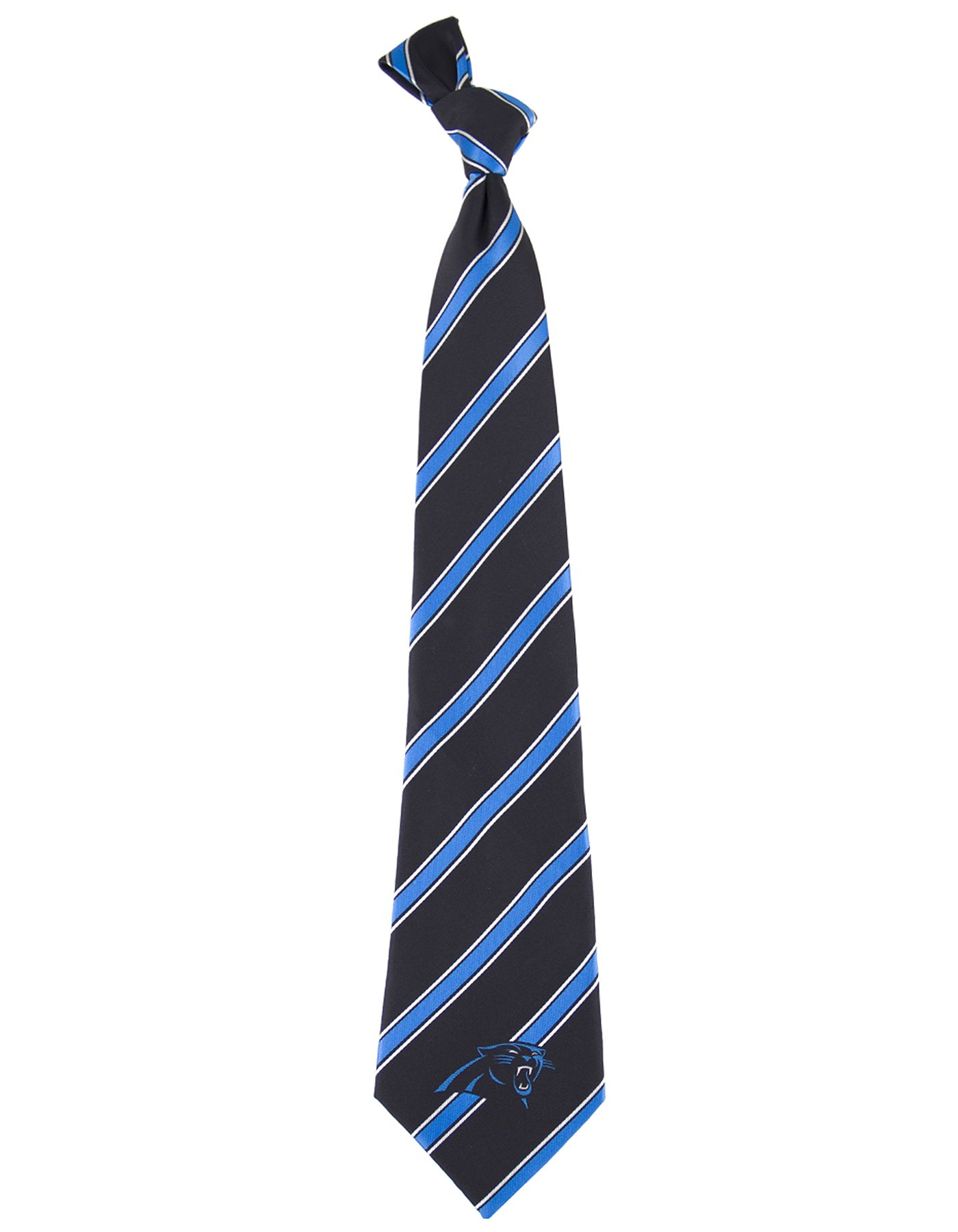 Eagles Wings Carolina Panthers Striped Polyester Necktie