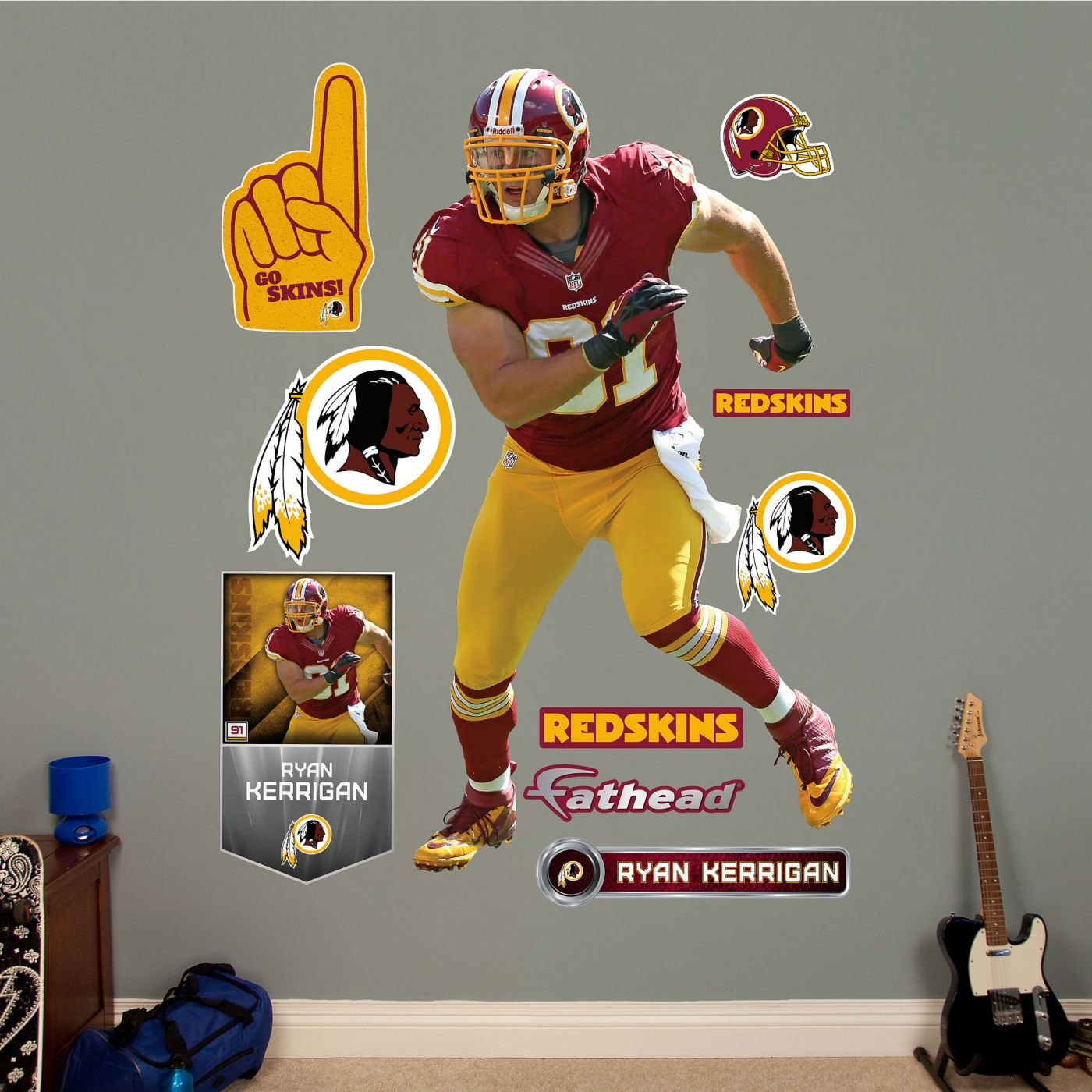 Fathead Ryan Kerrigan #91 Washington Redskins Real Big Wall Graphic
