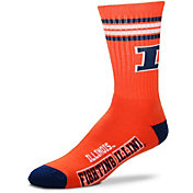 Illinois Fighting Illini 4-Stripe Crew Socks