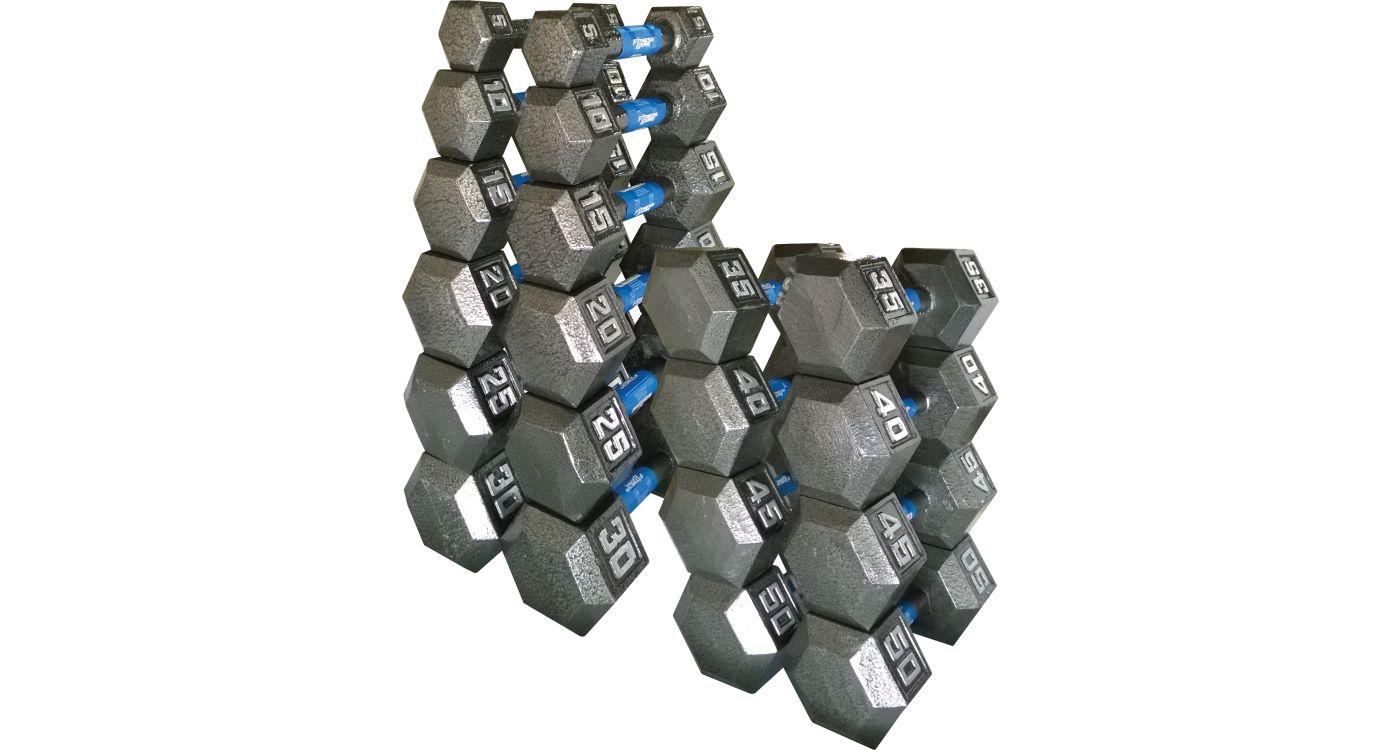 Fitness Gear Cast Hex 5-50 lb Dumbbell Set
