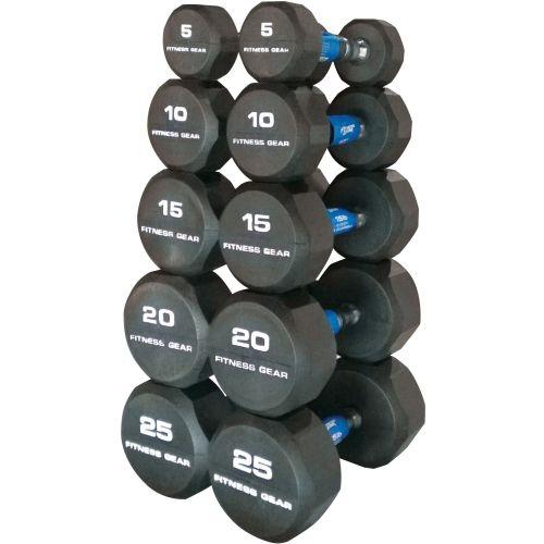 25 Lbs Dumbbell Set: Fitness Gear Rubber Hex 5-25 Lb Dumbbell Set