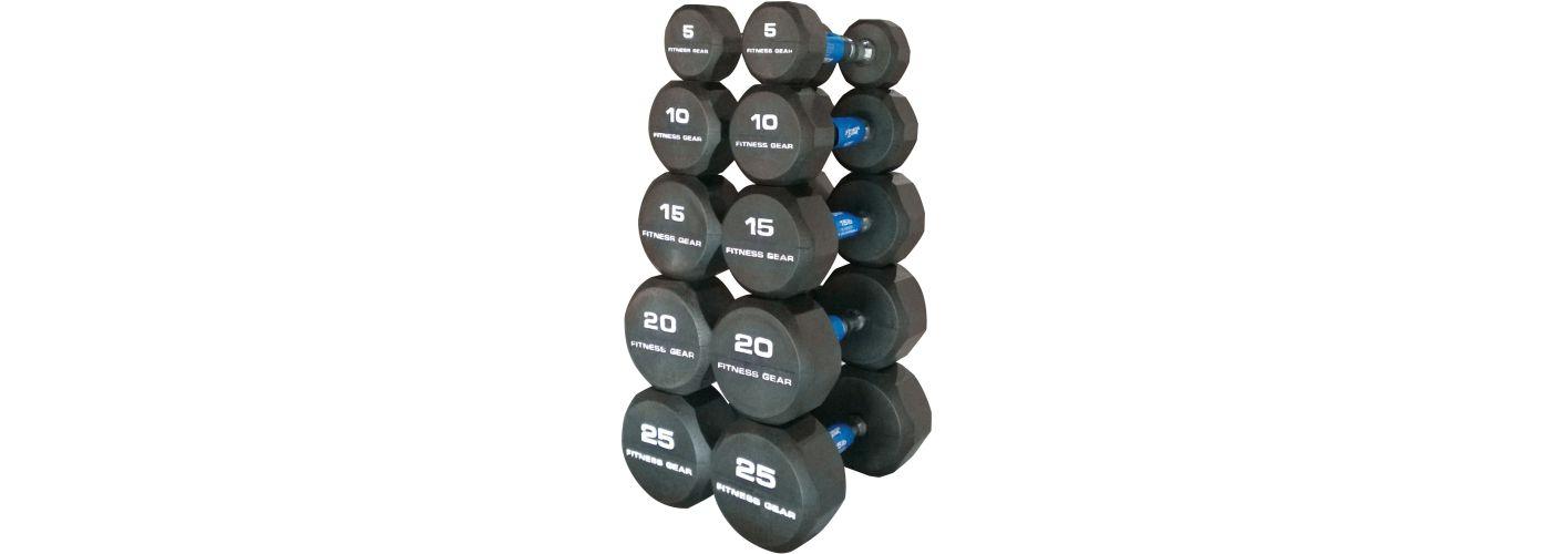 Fitness Gear Rubber Hex 5-25 lb Dumbbell Set