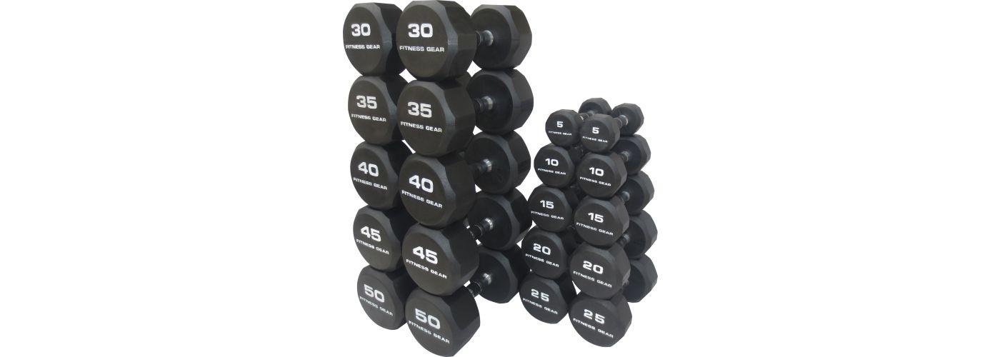 Fitness Gear Rubber Hex 5-50 lb Dumbbell Set