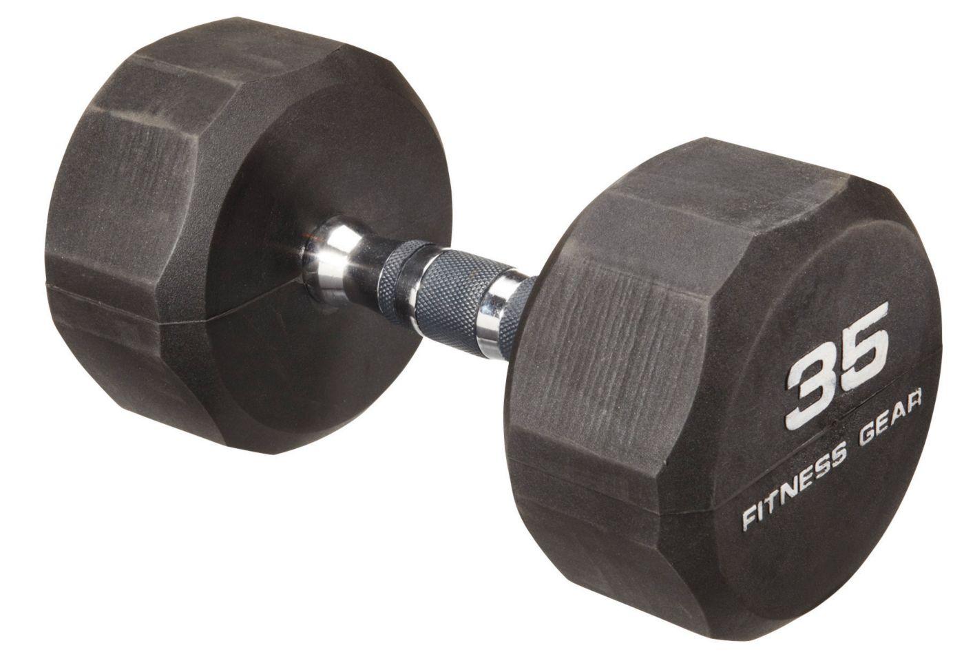 Fitness Gear 35 lb Rubber Hex Dumbbell