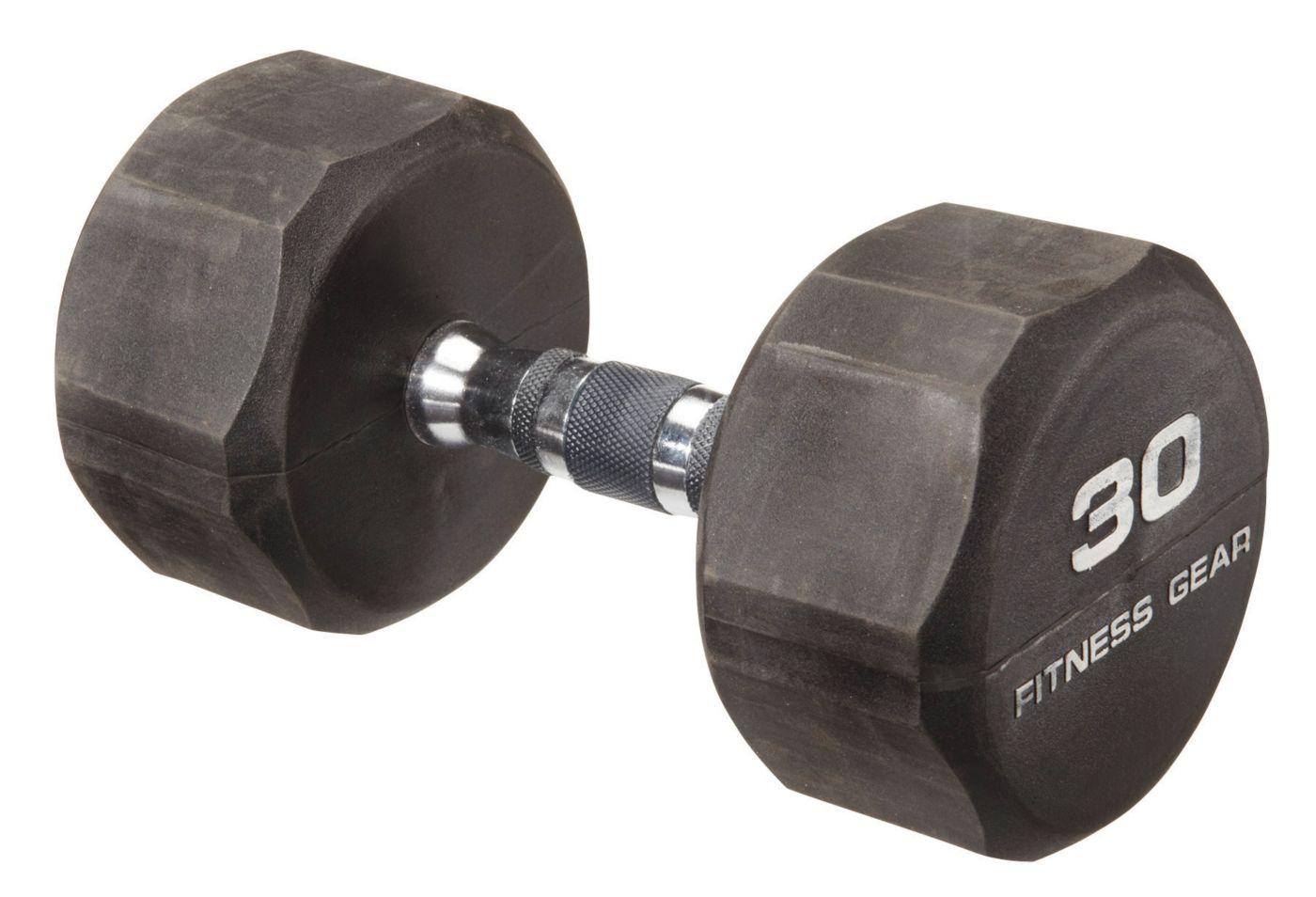 Fitness Gear 30 lb Rubber Hex Dumbbell