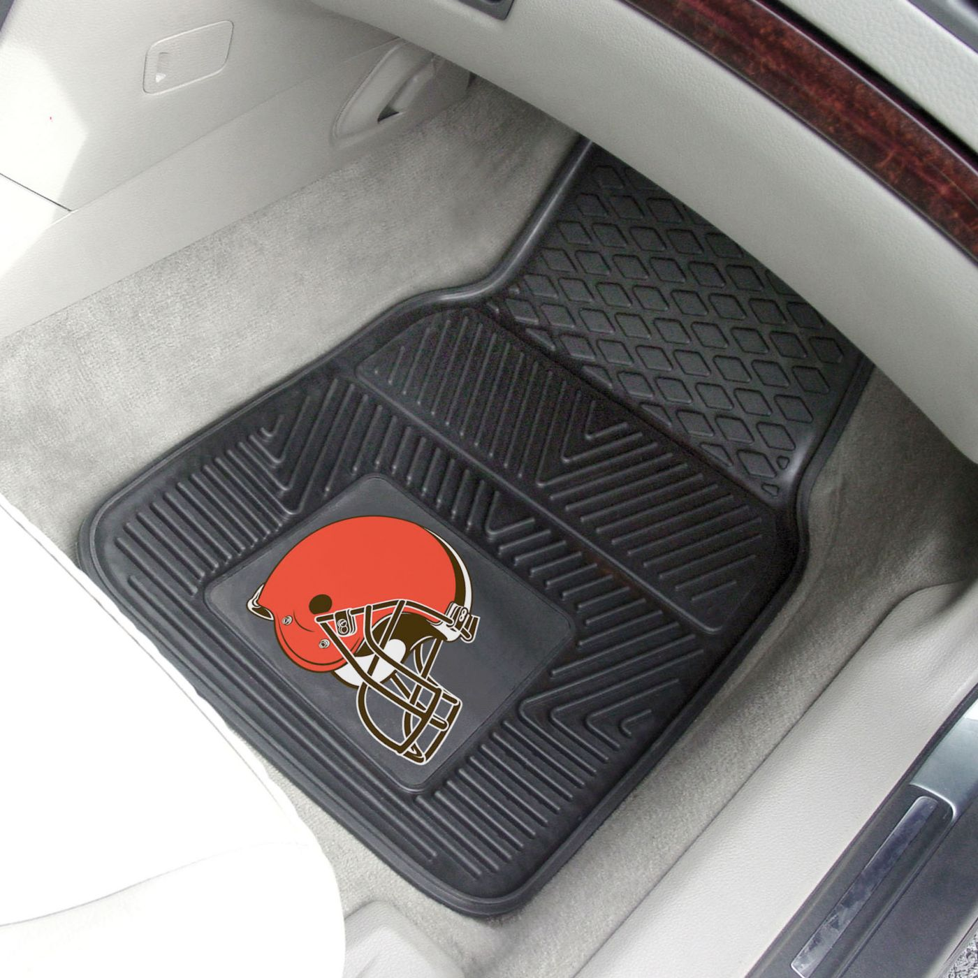 FANMATS Cleveland Browns 2-Piece Heavy Duty Vinyl Car Mat Set