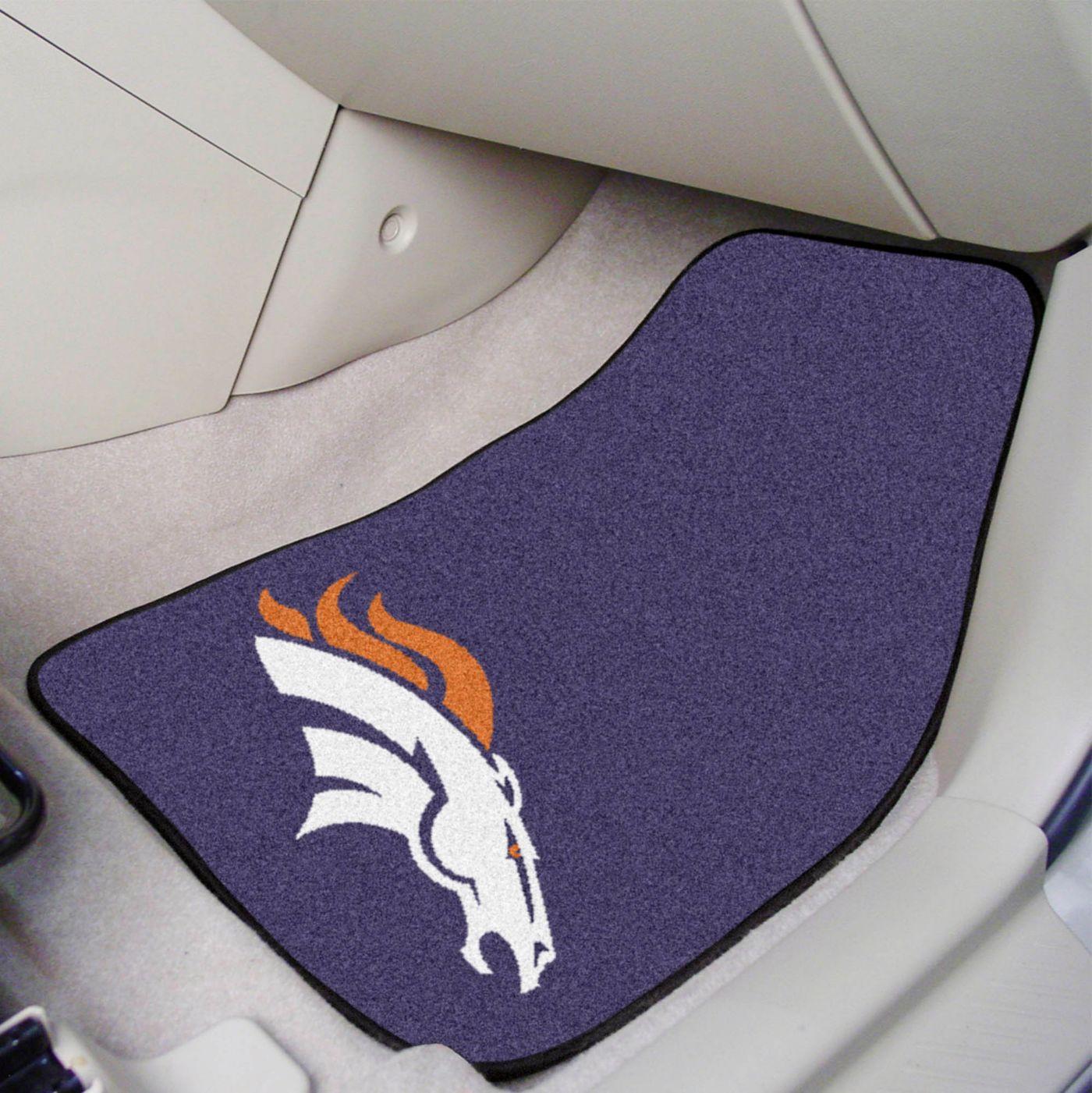 FANMATS Denver Broncos 2-Piece Printed Carpet Car Mat Set