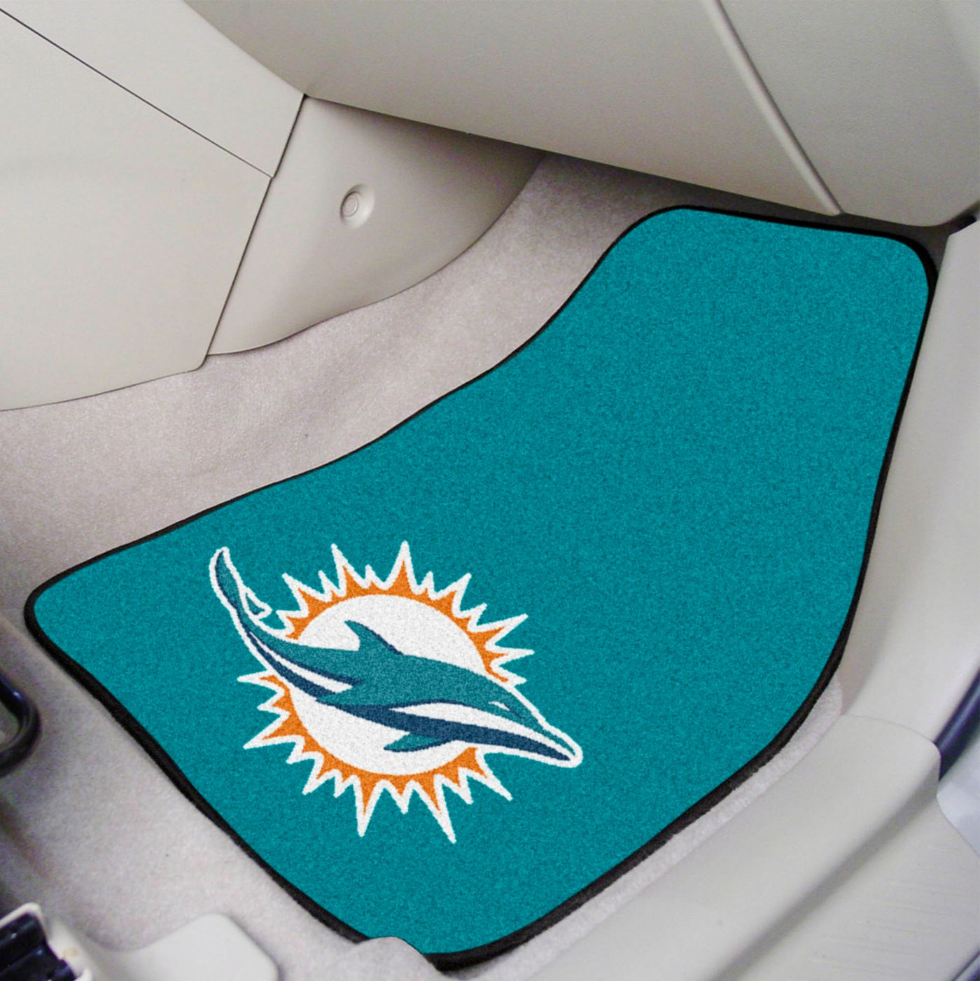 Miami Dolphins 2-Piece Printed Carpet Car Mat Set