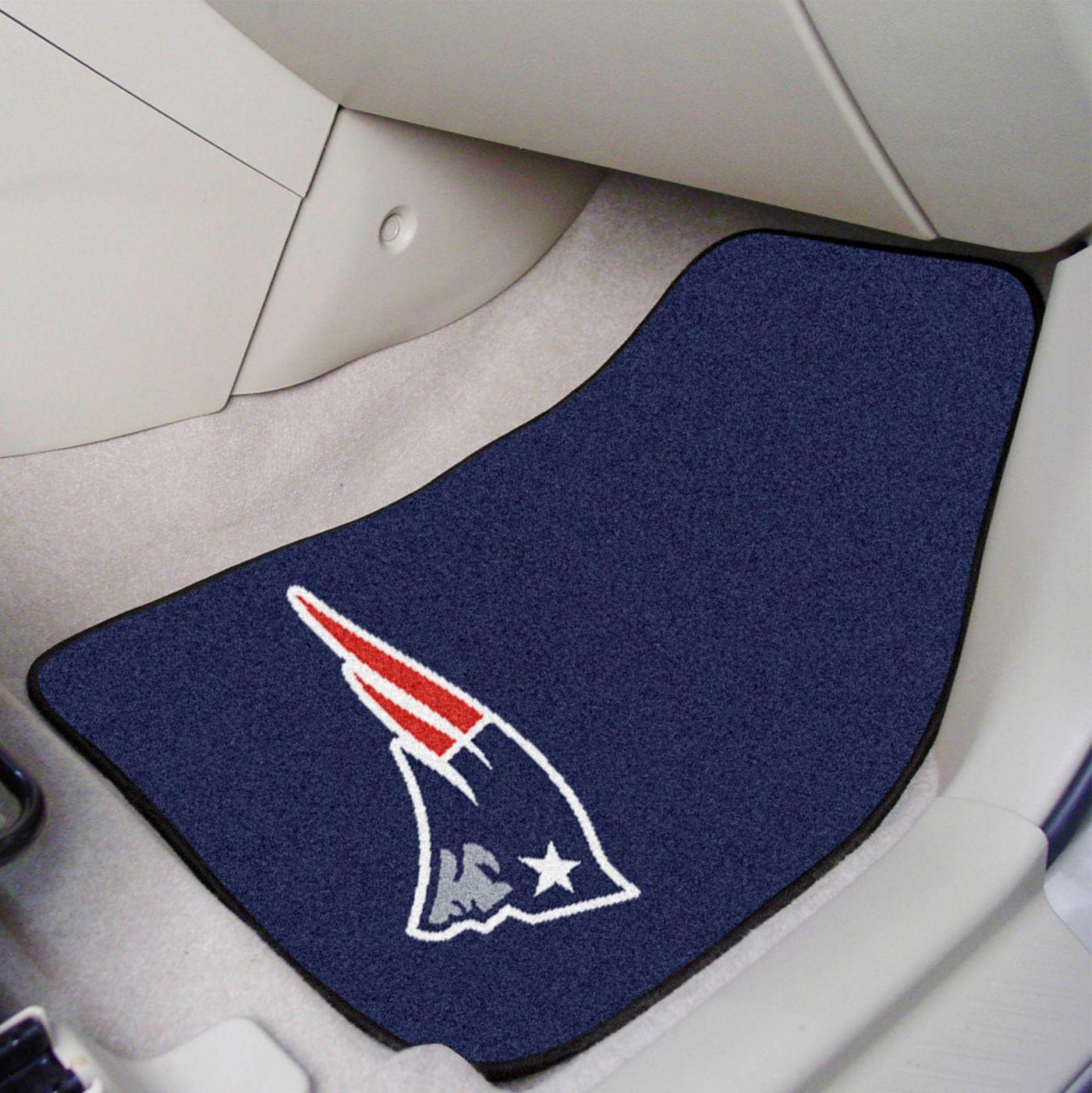 FANMATS New England Patriots 2-Piece Printed Carpet Car Mat Set