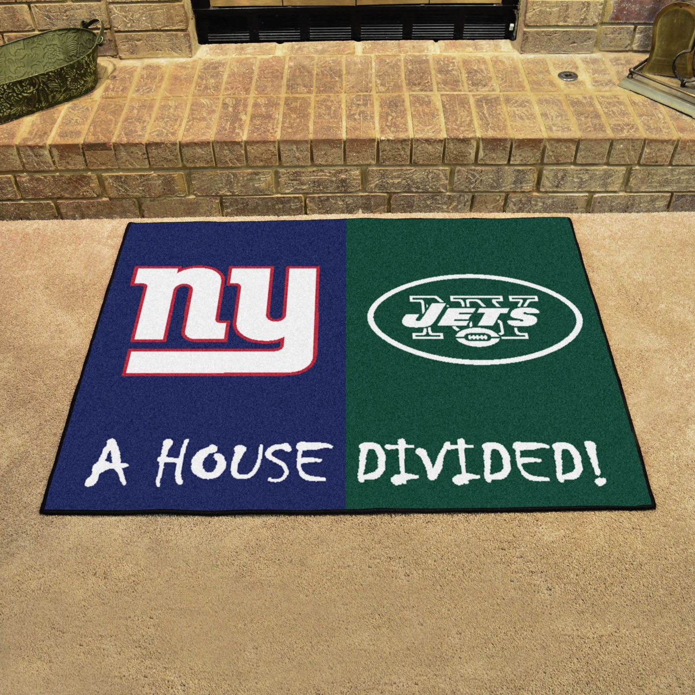 FANMATS New York Giants-New York Jets House Divided Mat