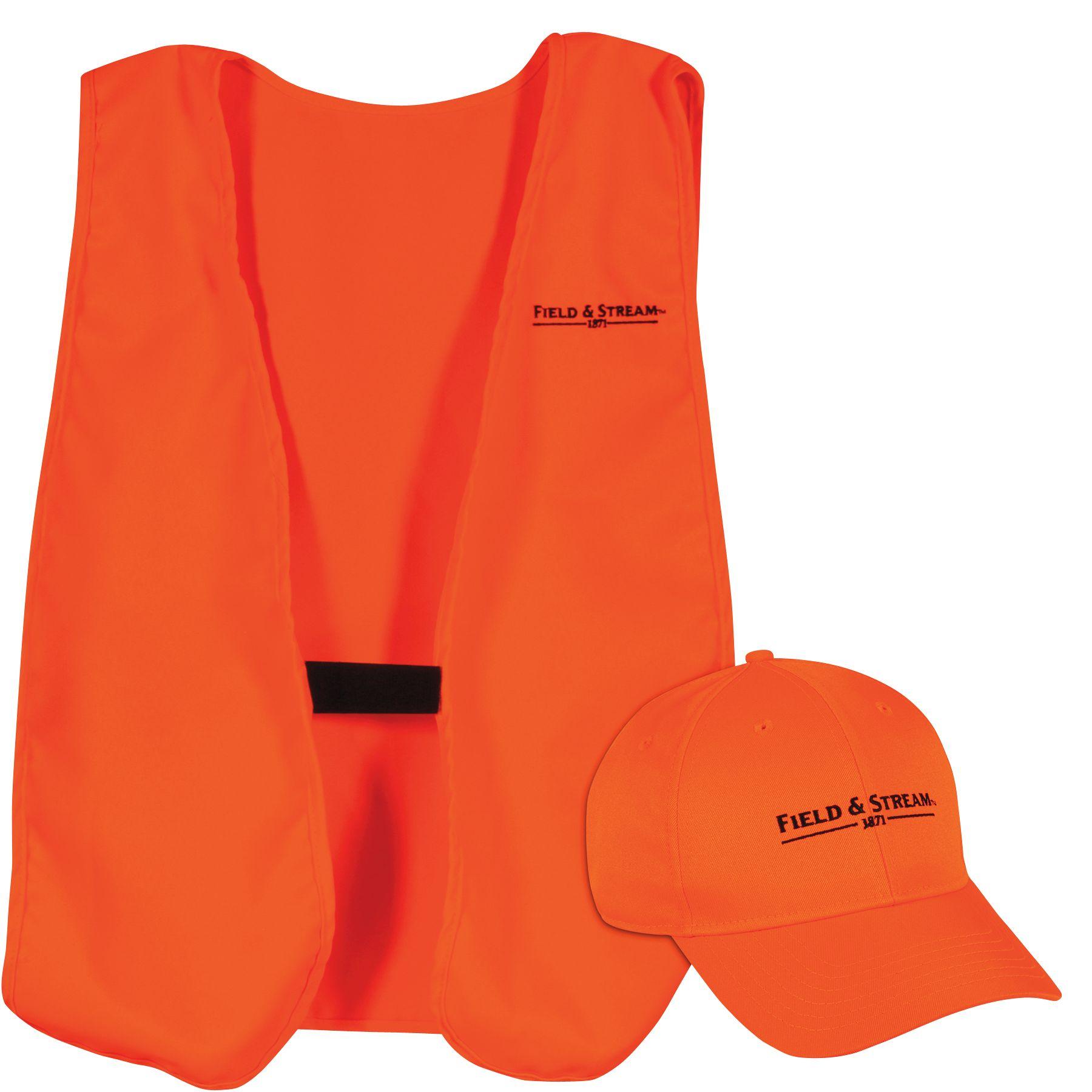 Field & Stream Adult Hat and Vest Combo, Men's, Blaze Orange