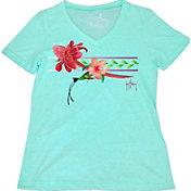 Guy Harvey Women's Floral Rush V-Neck T-Shirt
