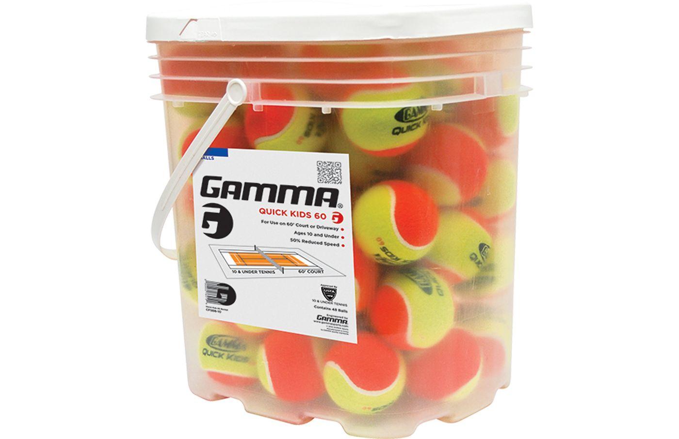 GAMMA Quick Kids 60' Tennis Balls – 48 Ball Pack
