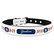 New York Yankees Classic Leather Baseball Dog Collar