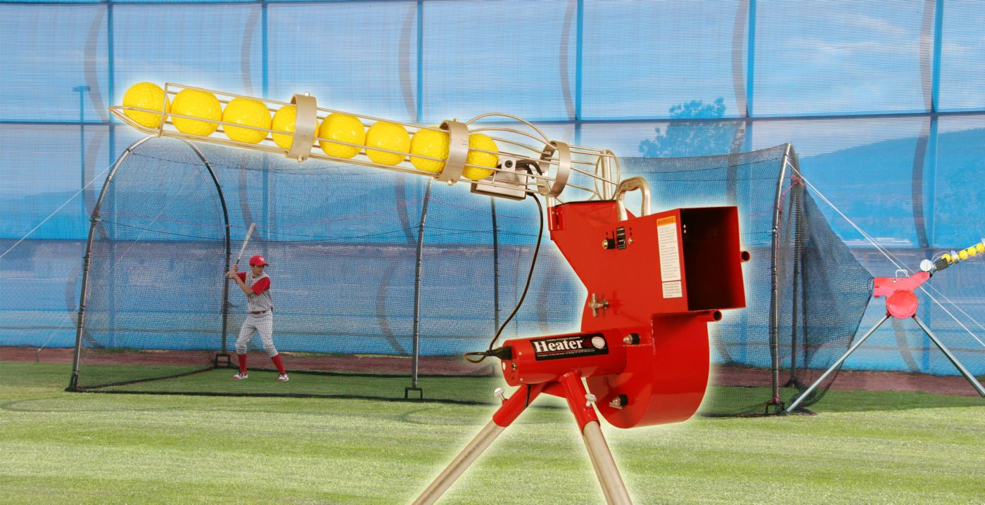 Heater Baseball & Softball Combo Pitching Machine & Xtender 24' Batting Cage