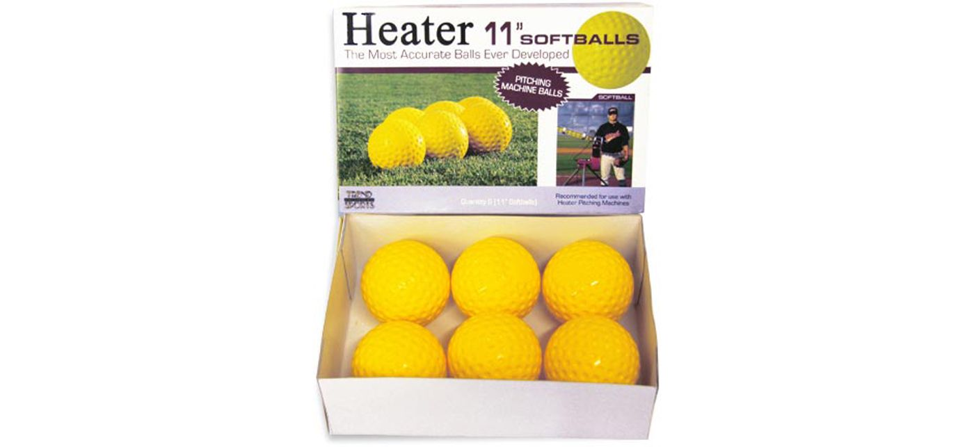 "Heater 11"" Yellow Dimpled Pitching Machine Softballs"