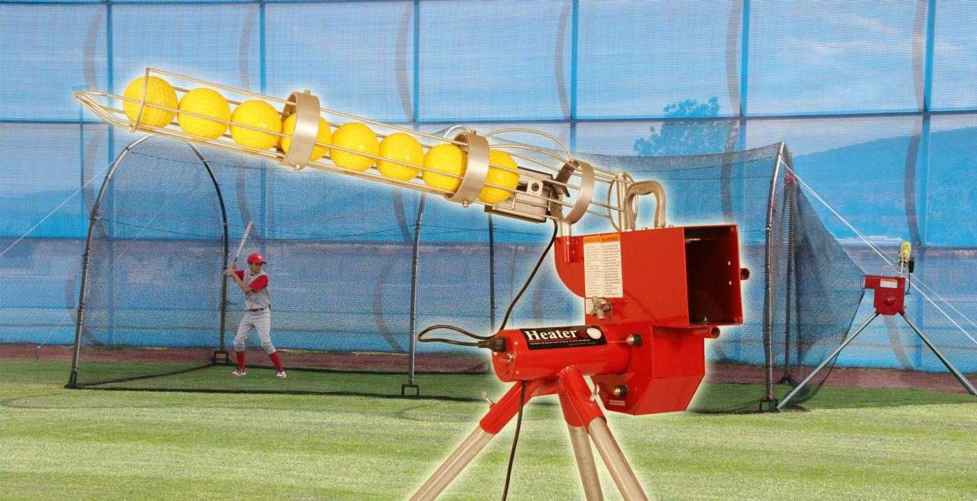 Heater Softball Pitching Machine & Xtender 24' Batting Cage