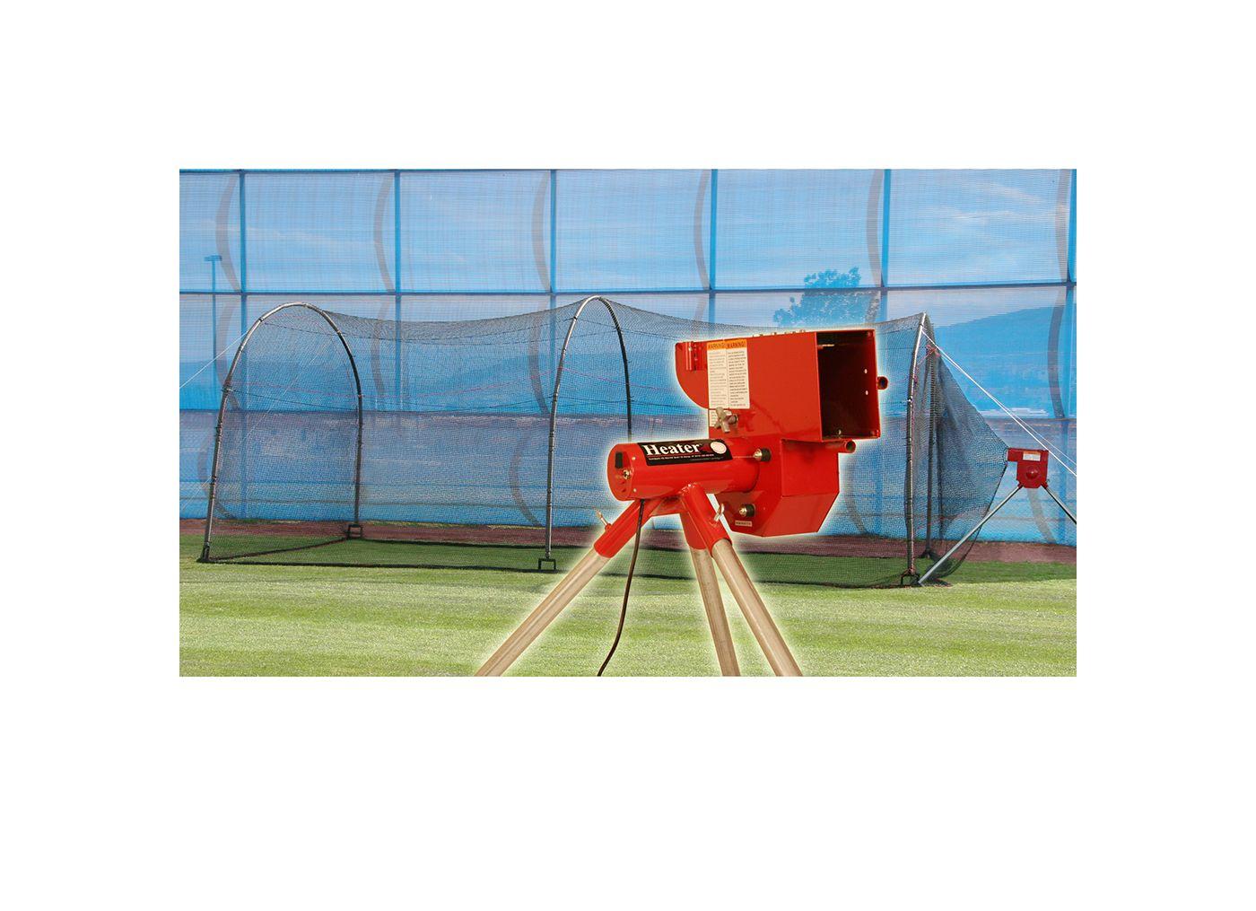 "Heater 12"" Softball Pitching Machine & Xtender 24' Batting Cage"