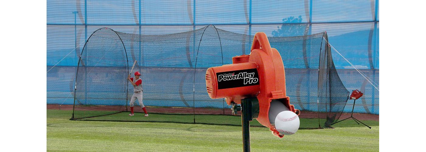 Heater PowerAlley Pro Baseball Pitching Machine & Home 20' Batting Cage