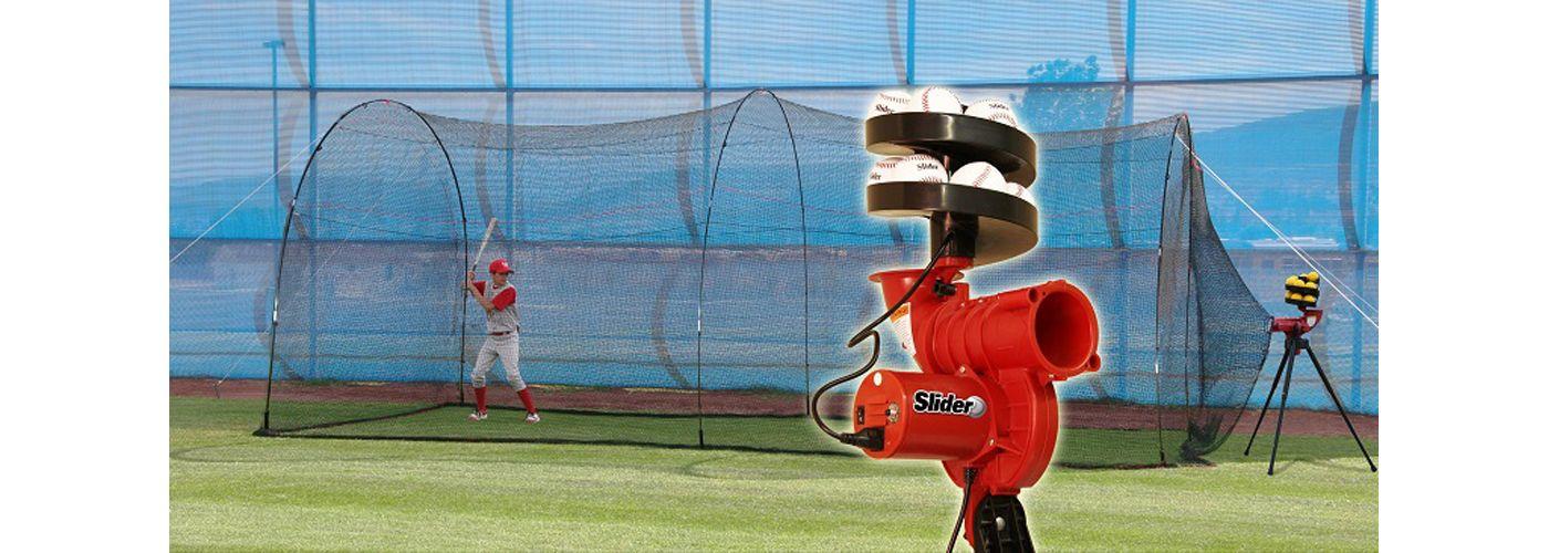 Heater Slider Lite-Ball Baseball Pitching Machine & PowerAlley 20' Batting Cage