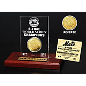 Highland Mint New York Mets World Series Championship Gold Coin Etched Acrylic